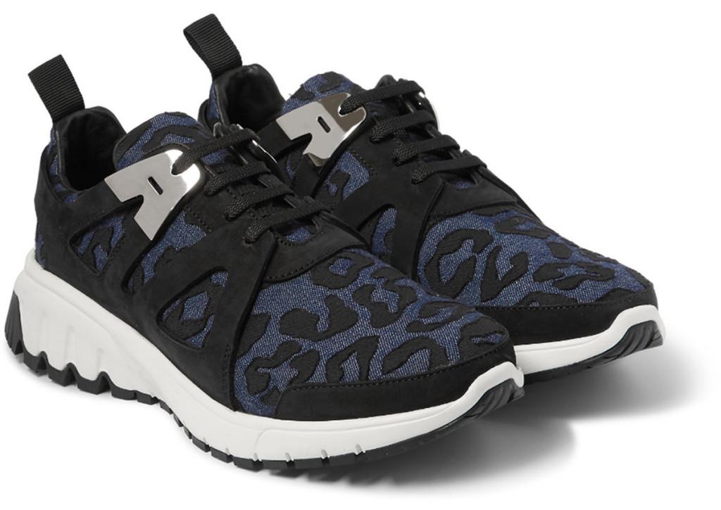 Neil-Barrett-Leopard-print-Denim-And-Suede-Sneakers